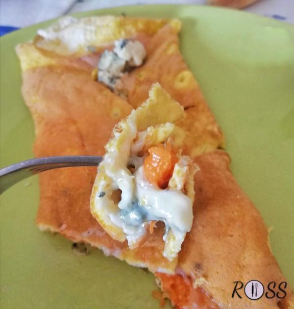 Omelette con zucca e gorgonzola