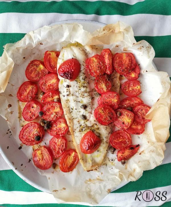 Pesce spatola con pomodorini caramellati