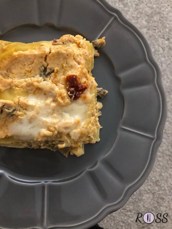 Lasagne con ricotta, zucca e funghi