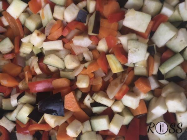 Prendi una padella wok o una padella molto profonda, aggiungi un filo d'olio e fai dorare la cipolla tagliata finemente. Pulisci e taglia a cubetti tutte le verdure. Alla cipolla unisci le carote, perché impiegano più tempo per cuocere, dopo aggiungi i peperoni, melanzane e zucchine. Fai rosolare. Nel frattempo, aggiungi del brodo vegetale e lascia cuocere con un coperchio.( ricorda di tenere da parte 160 ml di brodo che servirà per cuocere il cous cous) A metà cottura aggiungi le erbe aromatiche fresche, tagliate e le spezie finemente